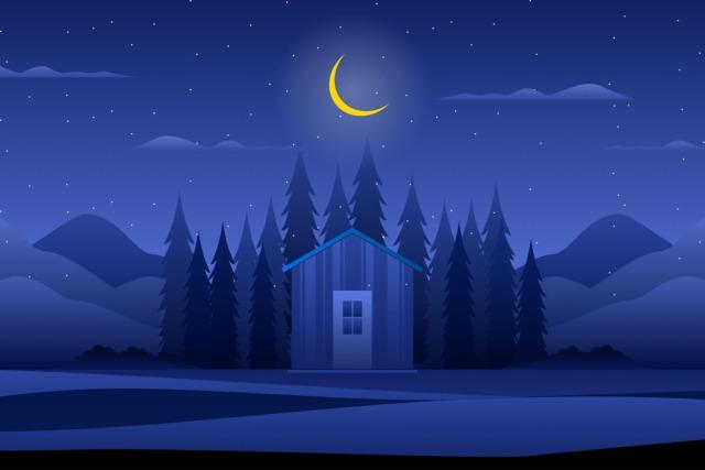 夜の森の中の家