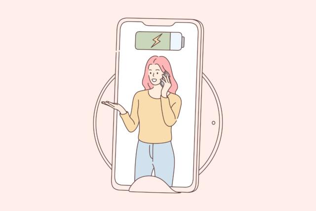 スマホに映る女性のイラスト